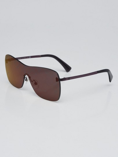Chanel Silvertone Metal and Purple Tinted Shield Sunglasses-4215