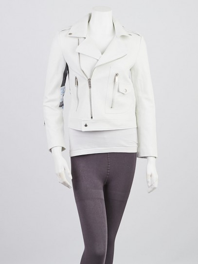 Christian Dior White Sheepskin Leather Biker Jacket Size M