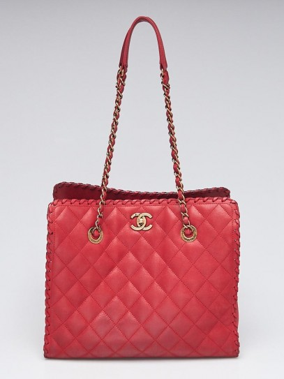 Chanel Red Quilted Iridescent Scalloped Leather Large Shopping Tote Bag