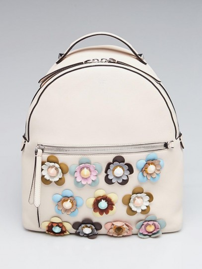 Fendi White/Multicolor Leather Flowerland Backpack Bag 8BZ035