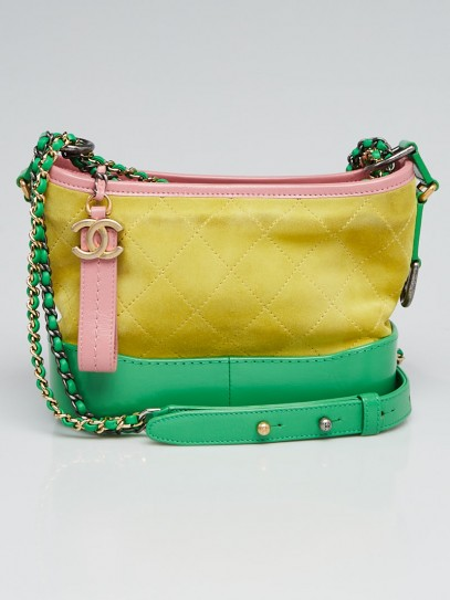 Chanel Green/Yellow/Pink Suede and Leather Small Gabrielle Hobo Bag