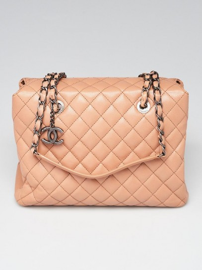 Chanel Beige Quilted Caviar Leather Tote Bag