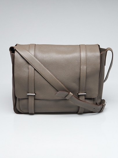 Hermes 35cm Taupe Grey Clemence Leather Palladium Plated Steve Messenger Bag