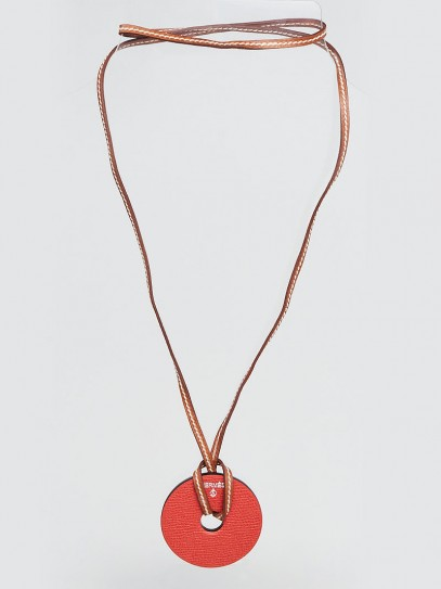 Hermes Cassis/Sanguine Clemence and Epsom Leather Rond PM Petit H Necklace