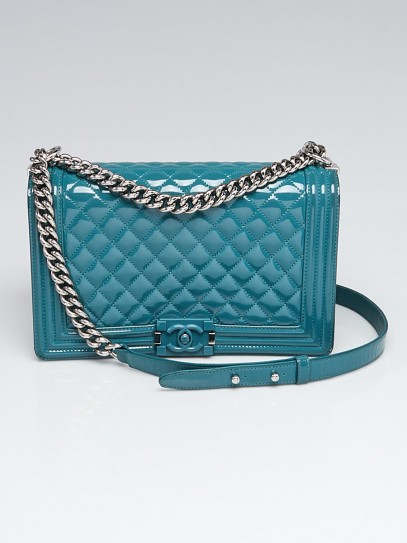 Chanel Turquoise Quilted Patent Leather Plexiglas Medium Boy Bag