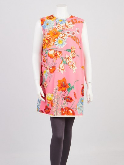 Gucci Pink Floral Print Viscose Sleeveless Dress Size 12/46