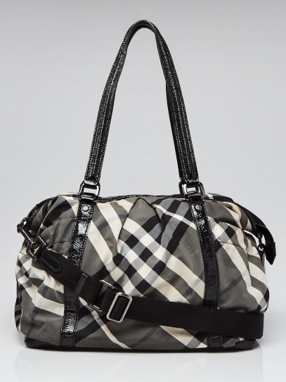 Burberry Black Beat Check Nylon Diaper Tote Bag