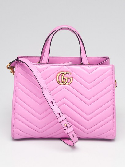Gucci Purple Quilted Leather Marmont 2.0 Metelasse Top Handle Small Satchel Bag