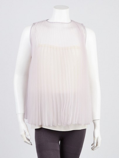 Prada Pink Pleated Sheer Silk Sleeveless Blouse Size 8/42