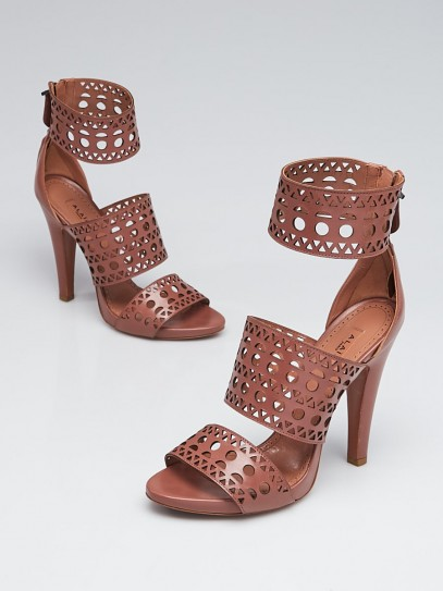 Alaïa Noisette Laser Cut Leather Heel Sandals Size 8.5/39