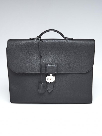 Hermes 38cm Black Togo Leather Palladium Plated Sac a Depeches Briefcase Bag
