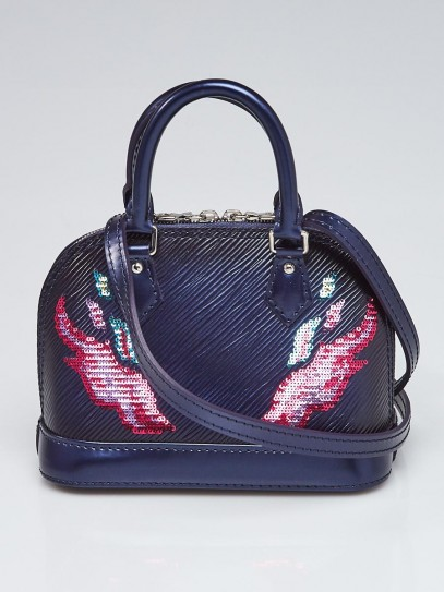 Louis Vuitton Bleu Nuit Epi Leather Sequin Flames Nano Alma Crossbody Bag