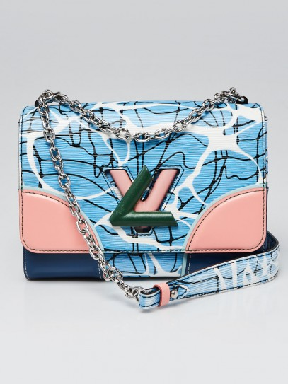 Louis Vuitton Limited Edition Aqua Epi Leather Twist MM Bag