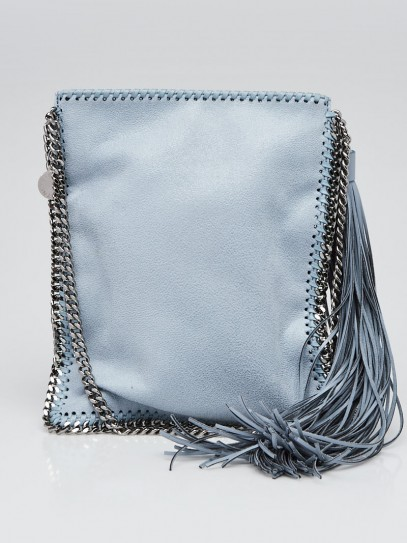 Stella McCartney Light Blue Shaggy Deer Faux Leather Small Falabella Crossbody Bag