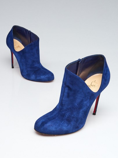 Christian Louboutin Indigo Suede Lisse 100 Ankle Booties Size 8/38.5