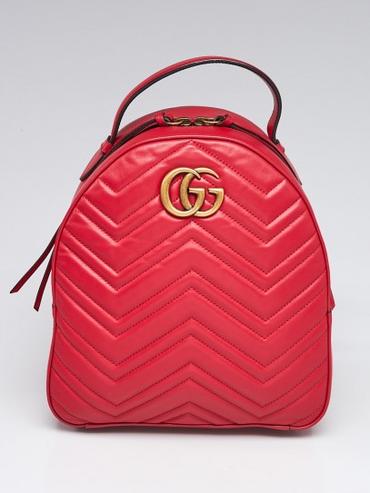 Gucci Red Chevron Leather Marmont Backpack Bag