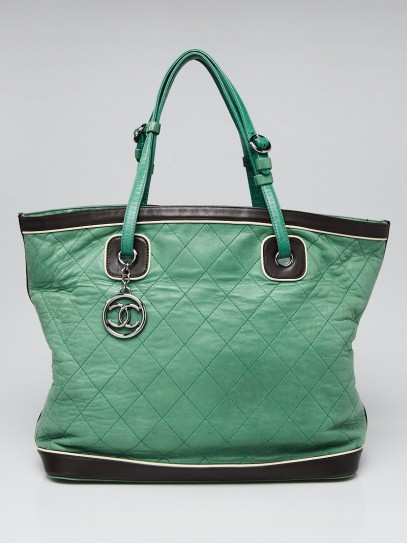Chanel Green Quilted Lambskin Leather Country Club Large Tote Bag