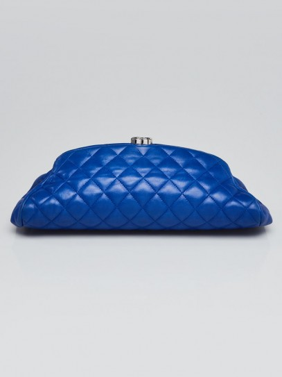 Chanel Blue Quilted Lambskin Leather Timeless Clutch Bag