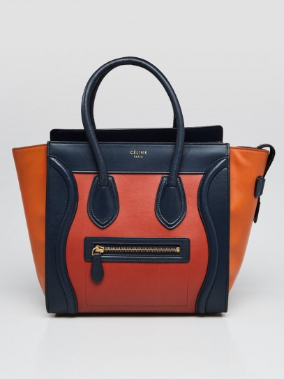 Celine Tri-Color Smooth Leather Micro Luggage Tote Bag