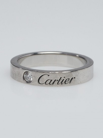 Cartier Platinum and Diamond C de Cartier Wedding Band Size 3.75/46