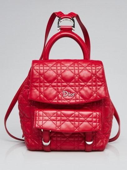 Christian Dior Red Cannage Quilted Leather Stardust Small Backpack Bag