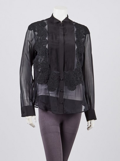 Givenchy Black Silk and Lace Long Sleeve Blouse Size 6/40