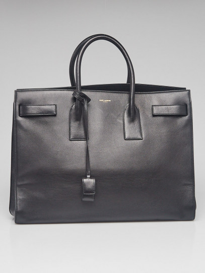Yves Saint Laurent Black Calfskin Leather Large Sac de Jour Tote Bag