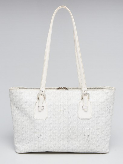 Goyard White Chevron Print Coated Canvas Okinawa PM Tote Bag