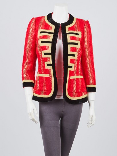 Givenchy Red/Gold Acrylic Blend Tweed and Velvet Trim Jacket Size 4/38