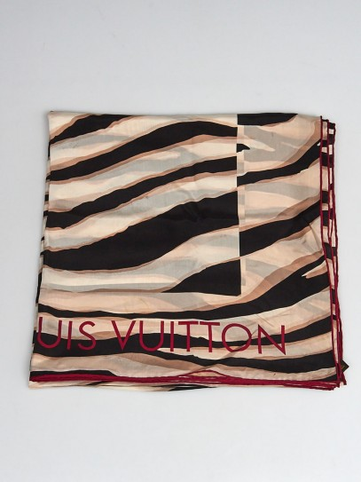 Louis Vuitton Black/White Silk Zebra Striped Square Scarf
