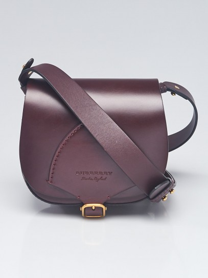 Burberry Deep Claret Bridle Leather Crossbody Mini Satchel Bag