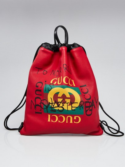 Gucci Red Leather Coco Capitan Logo Drawstring Backpack Bag