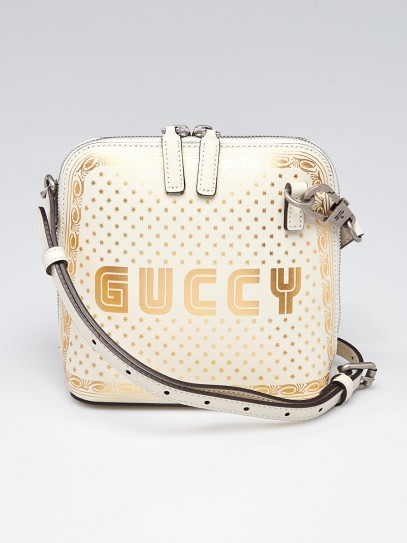Gucci White/Gold Leather GUCCY Mini Crossbody Bag