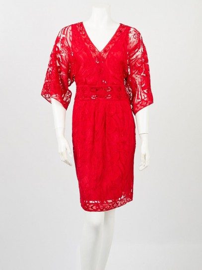 Emilio Pucci Red Lace Embellished Cocktail Dress Size 4/38