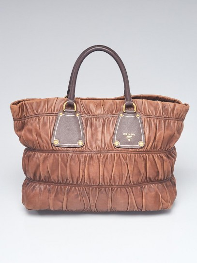 Prada Brown Leather Gauffre Tote Bag