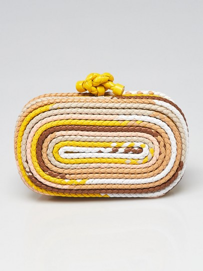 Bottega Veneta Multicolor Intrecciato Leather Knot Clutch Bag
