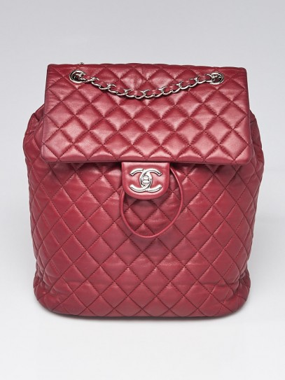 Chanel Dark Red Quilted Lambskin Leather Large Urban Spirit Backpack Bag