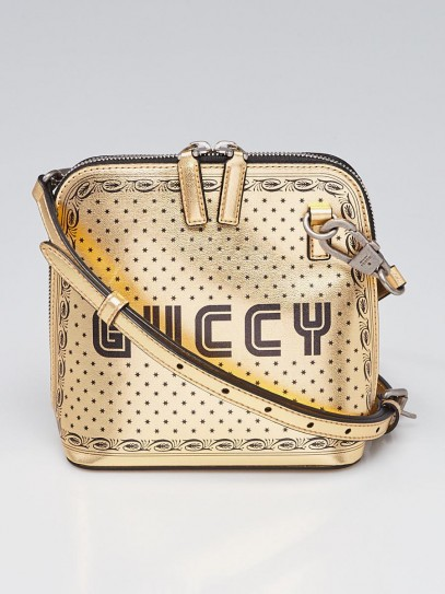 Gucci Gold/Black Leather GUCCY Mini Crossbody Bag