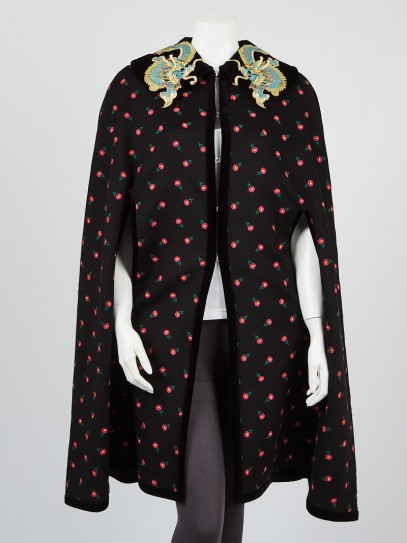 Gucci Black Wool Floral Printed Dragon Collar Cape Size 8/42