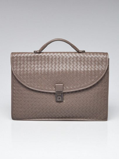 Bottega Veneta Etain Grey Intrecciato Woven Leather Classic Briefcase