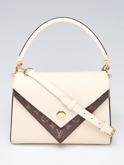 Louis Vuitton Creme Leather and Monogram Coated Canvas Double V Bag