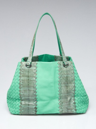 Bottega Veneta Green Intrecciato Woven Nappa Leather and Ayers Medium Cesta Tote Bag