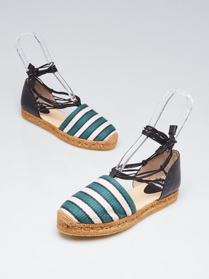Chloe Green/White Striped Canvas Espadrille Ankle Wrap Flats Size 8.5/39
