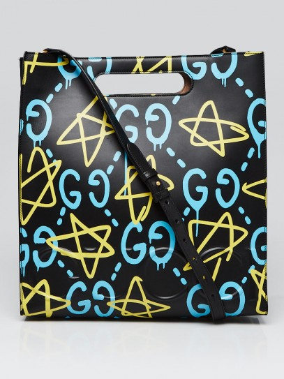 Gucci Black Multicolor GucciGhost Calfskin Print Leather Two-Way  XL Tote Bag