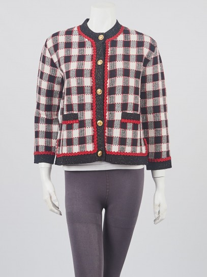 Gucci Red/Black/White Check Wool Button Down Sweater Size S