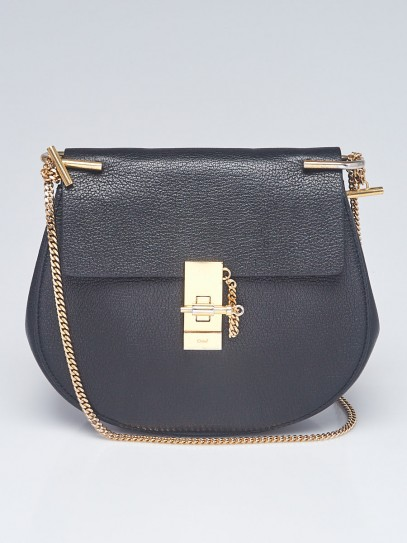 Chloe Black Pebbled Leather Small Drew Bag