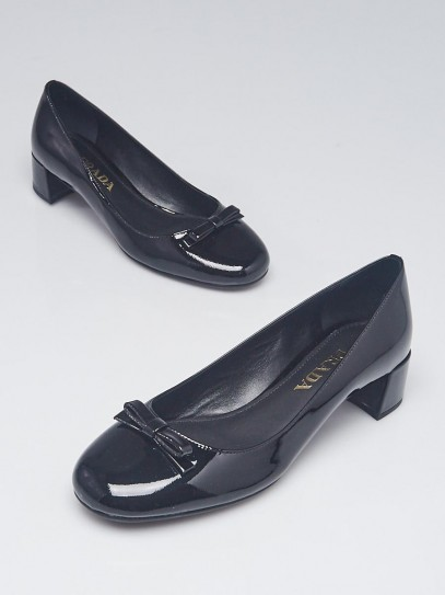 Prada Black Patent Leather Kitten Heel Pumps Size 5.5/36