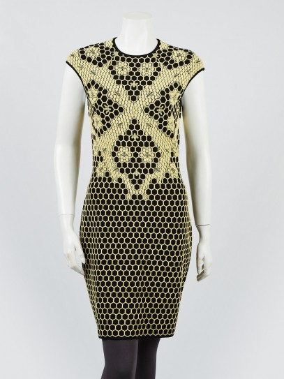 Alexander McQueen Black/Yellow Viscose Blend Fabric Honeycomb Sleeveless Dress Size XL