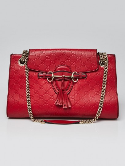 Gucci Red Guccissima Leather Emily Original Chain Large Shoulder Bag