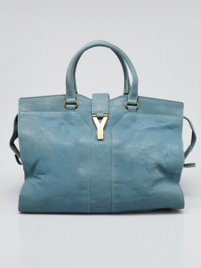 Yves Saint Laurent Light Blue Leather Large Cabas ChYc Bag